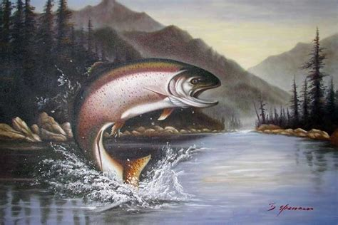Rainbow Trout Jumping Fishing Lake Mountains Painting-in
