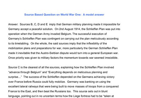 Source Based Question on World War One: A model answer