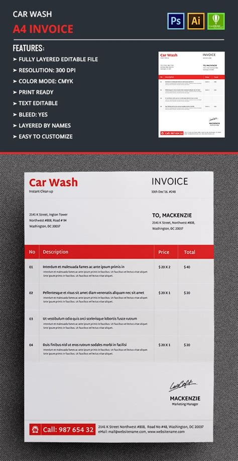 2+ Car Wash Invoice Templates - Word, Excel   Free