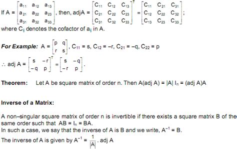 CBSE Class 12 Maths Notes: Matrices – Ad joint of a Square