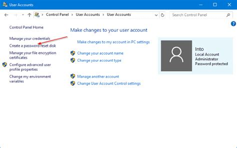 How To Create Password Reset Disk On USB Drive In Windows 10