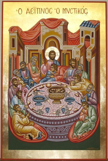 Religious Icon Of Last Supper Tempera Painting By