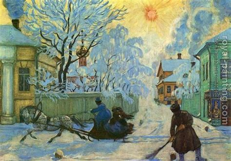 Frosty Morning by Boris Kustodiev   Oil Painting Reproduction